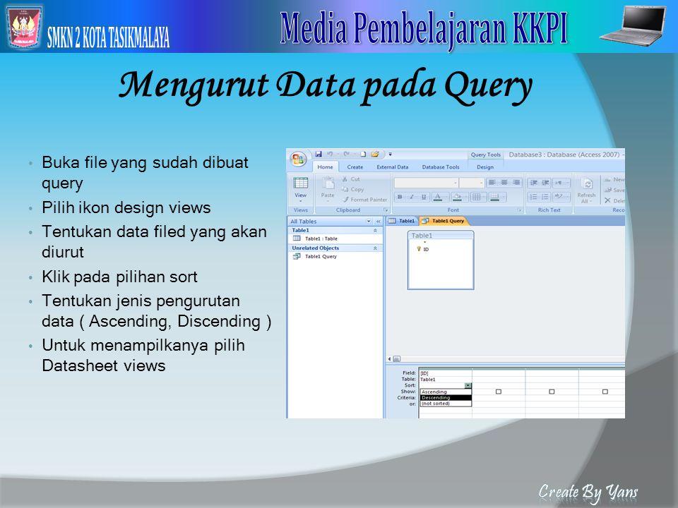Mengurut Data pada Query