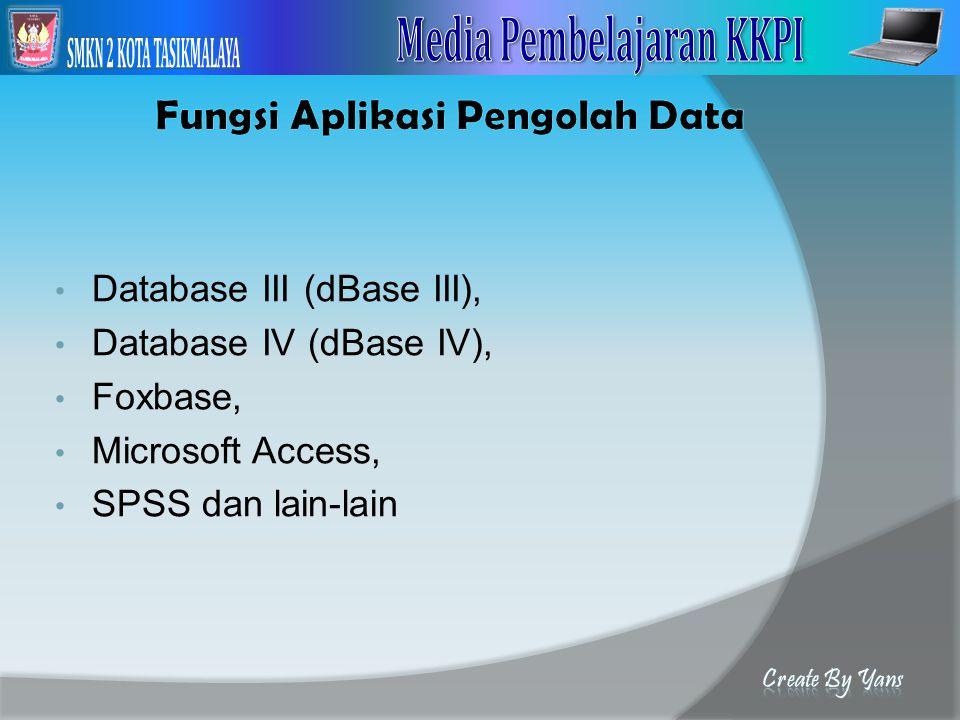 Fungsi Aplikasi Pengolah Data