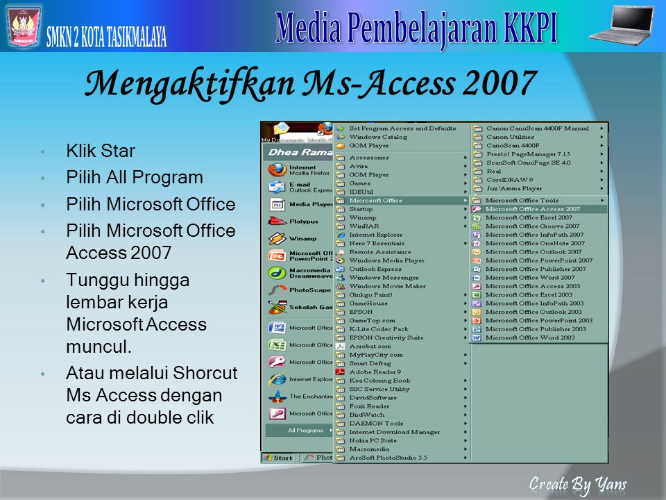 Mengaktifkan Ms-Access 2007