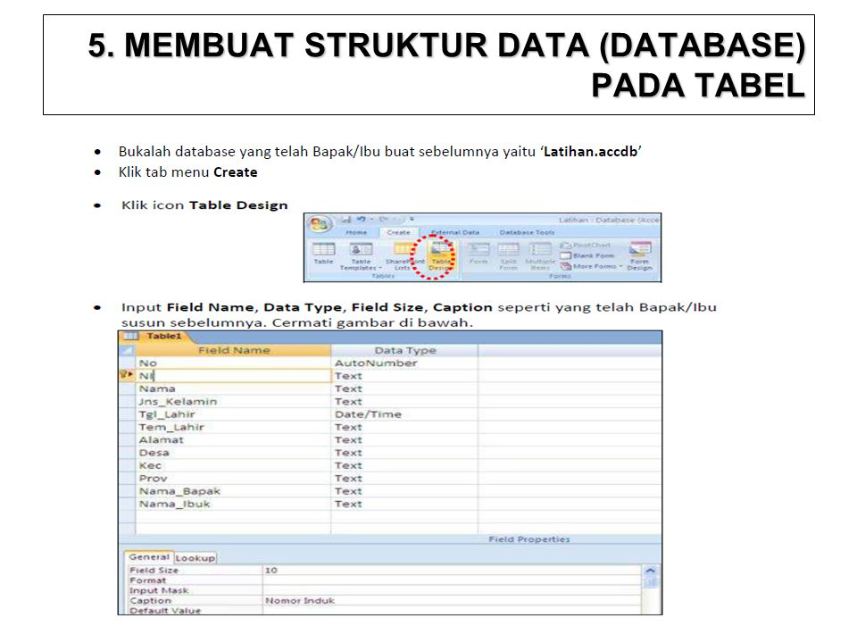 5. MEMBUAT STRUKTUR DATA (DATABASE) PADA TABEL