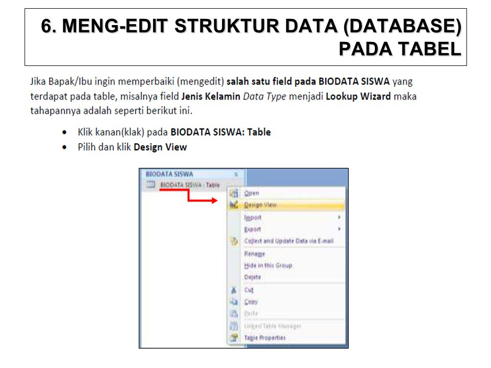 6. MENG-EDIT STRUKTUR DATA (DATABASE) PADA TABEL