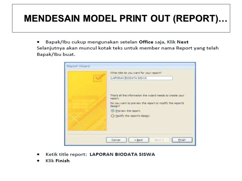 MENDESAIN MODEL PRINT OUT (REPORT)…