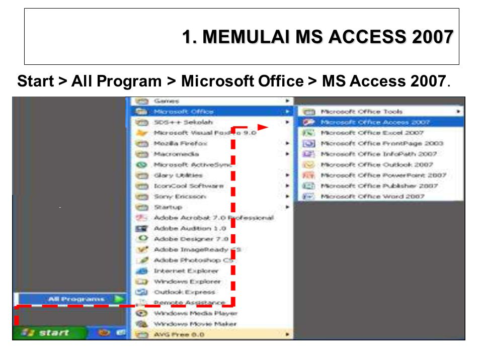1. MEMULAI MS ACCESS 2007 Start > All Program > Microsoft Office > MS Access 2007. 7