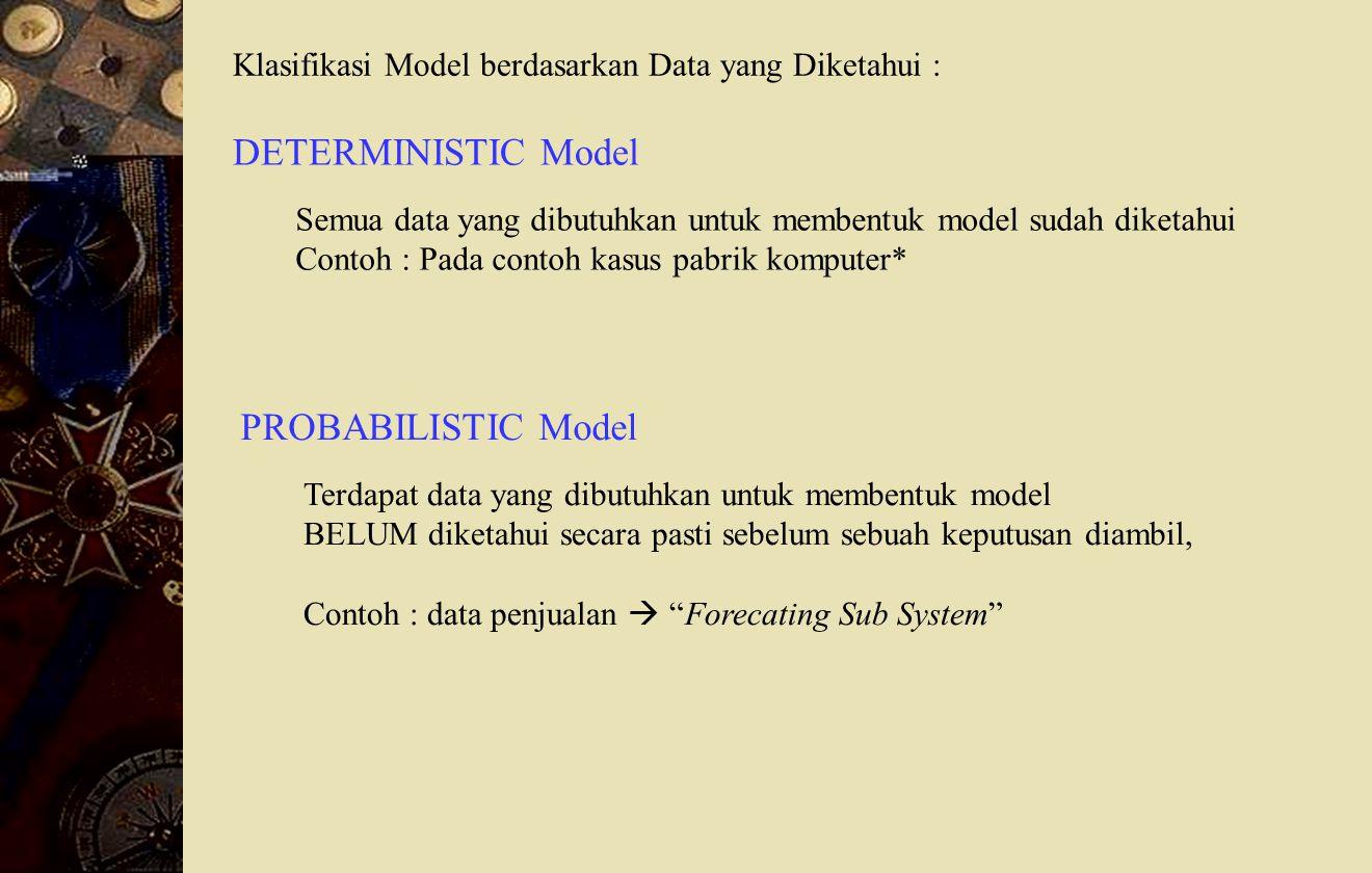 DETERMINISTIC Model PROBABILISTIC Model