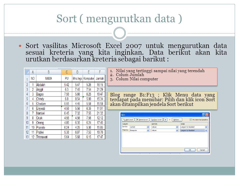Sort ( mengurutkan data )