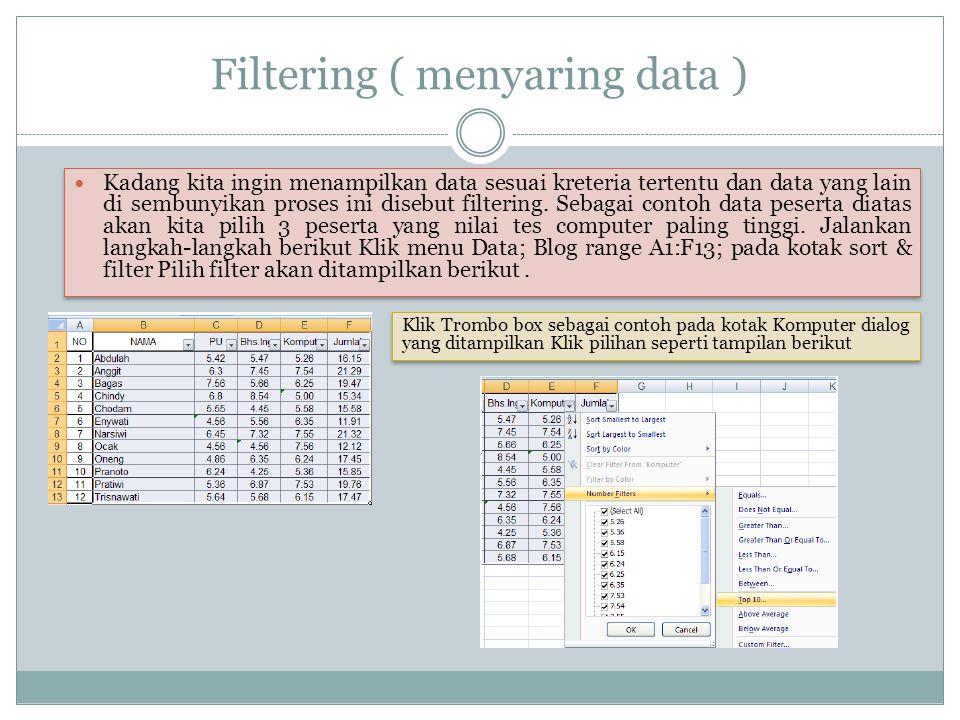 Filtering ( menyaring data )