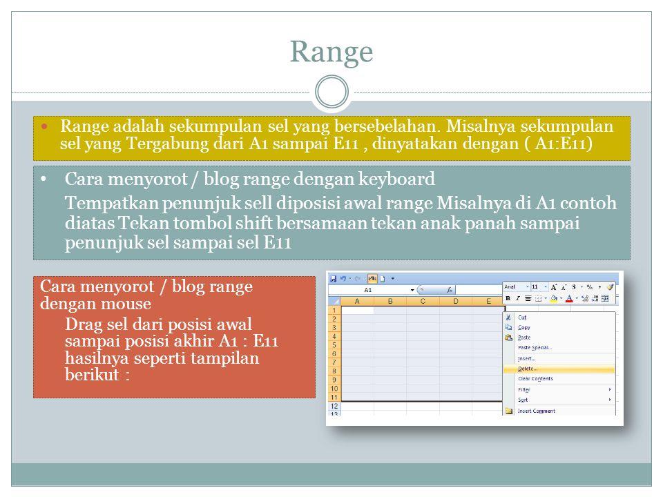 Range Cara menyorot / blog range dengan keyboard