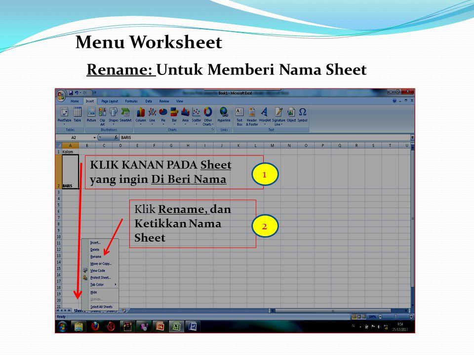 Menu Worksheet Rename: Untuk Memberi Nama Sheet