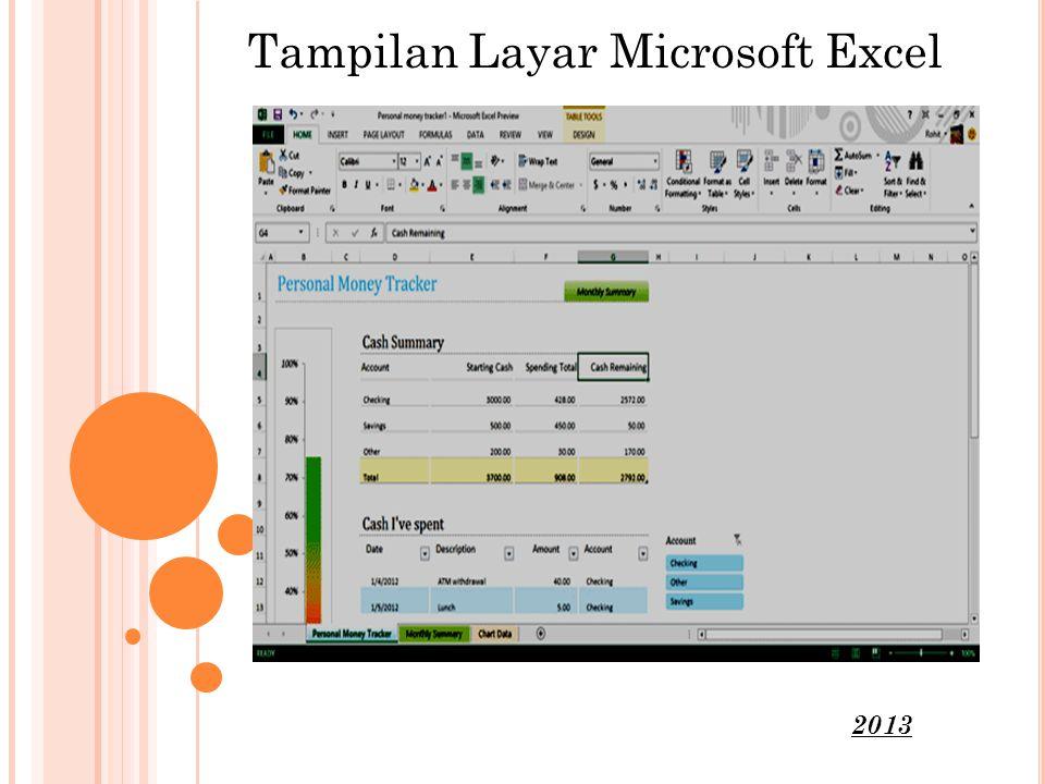 Tampilan Layar Microsoft Excel