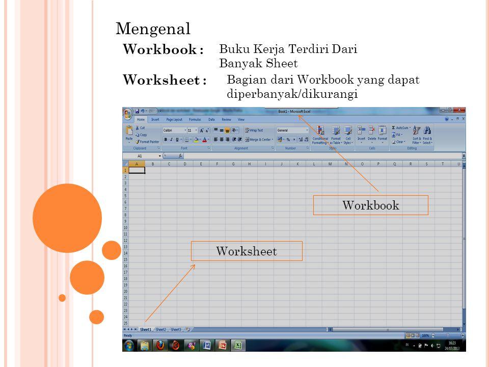 Mengenal Workbook : Worksheet : Buku Kerja Terdiri Dari Banyak Sheet