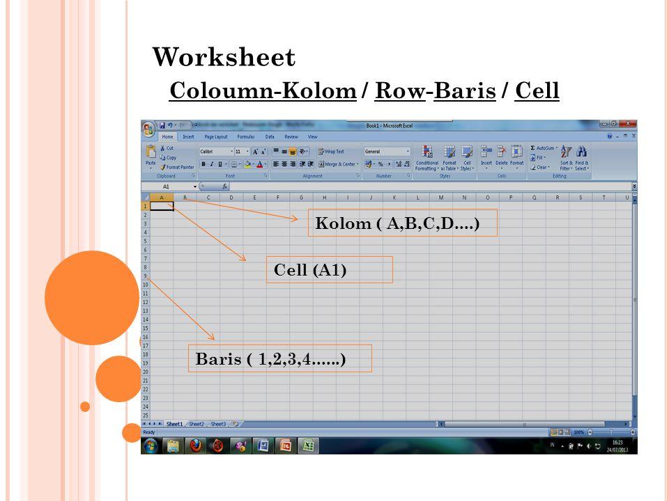 Worksheet Coloumn-Kolom / Row-Baris / Cell Kolom ( A,B,C,D....)
