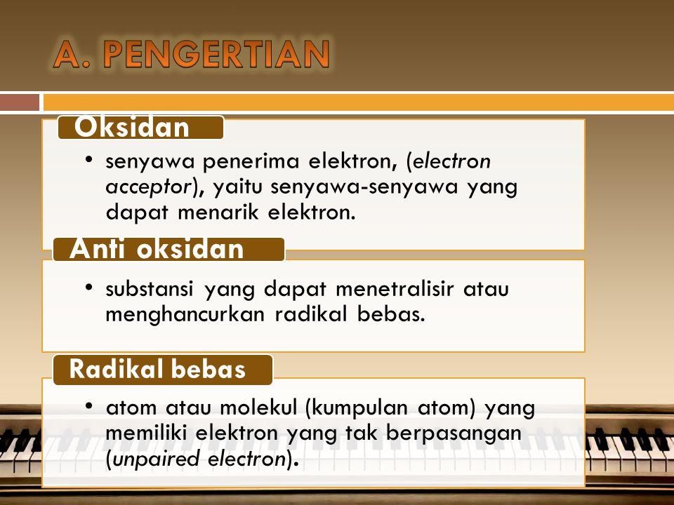 A. PENGERTIAN Anti oksidan Oksidan Radikal bebas