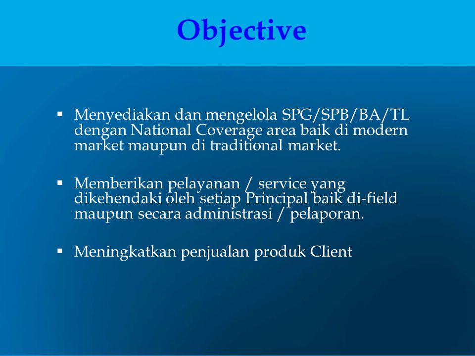 Objective Menyediakan dan mengelola SPG/SPB/BA/TL dengan National Coverage area baik di modern market maupun di traditional market.