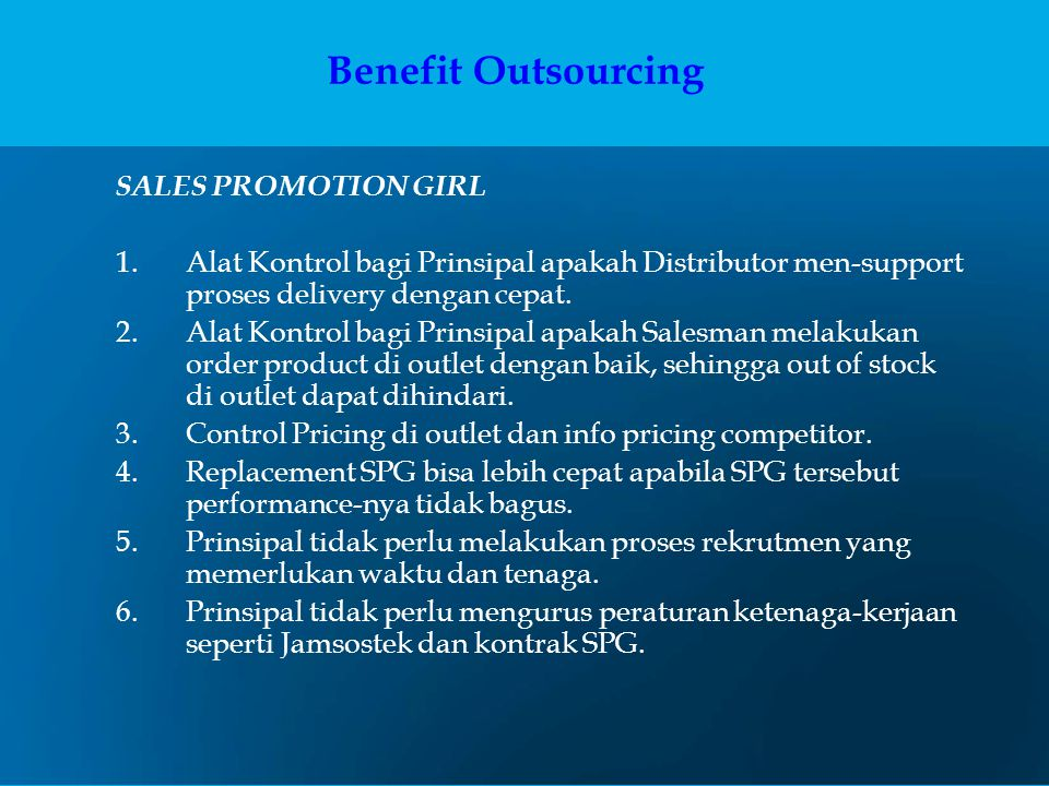 Benefit Outsourcing SALES PROMOTION GIRL