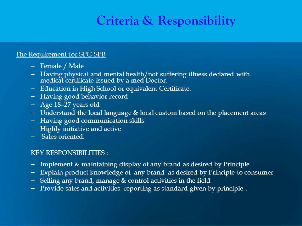 Criteria & Responsibility