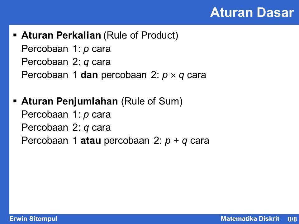 Aturan Dasar Aturan Perkalian (Rule of Product) Percobaan 1: p cara