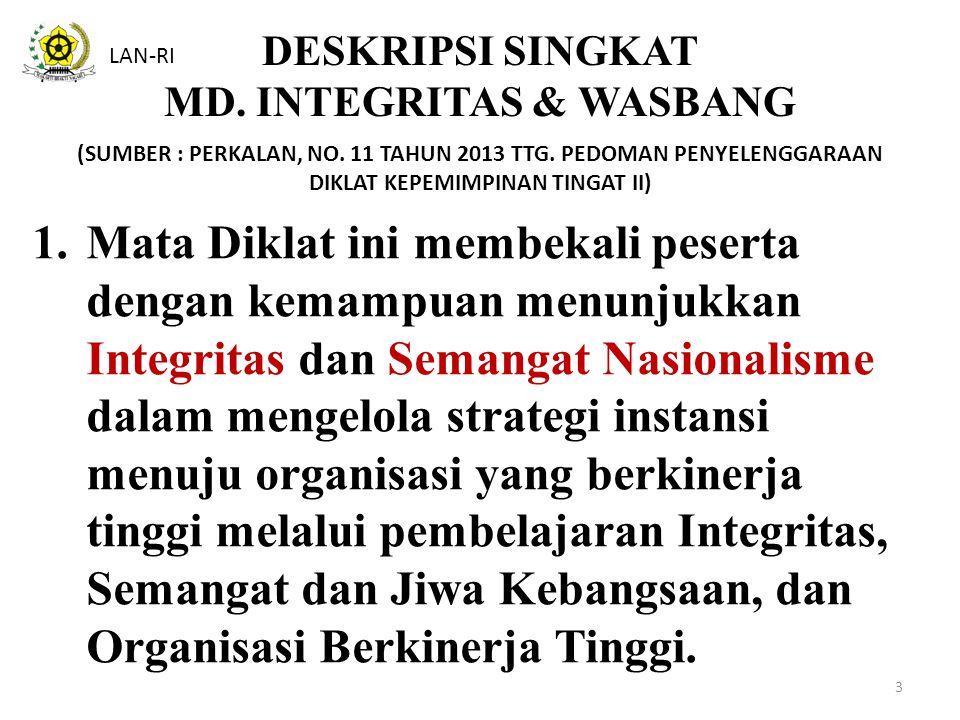 DESKRIPSI SINGKAT MD. INTEGRITAS & WASBANG