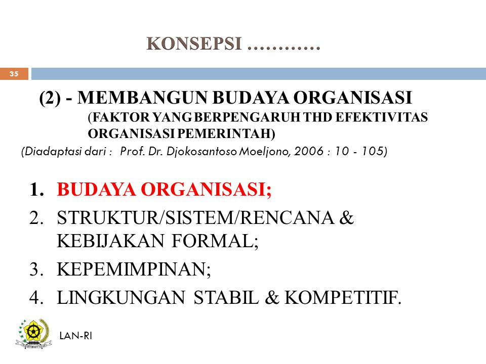 STRUKTUR/SISTEM/RENCANA & KEBIJAKAN FORMAL; KEPEMIMPINAN;