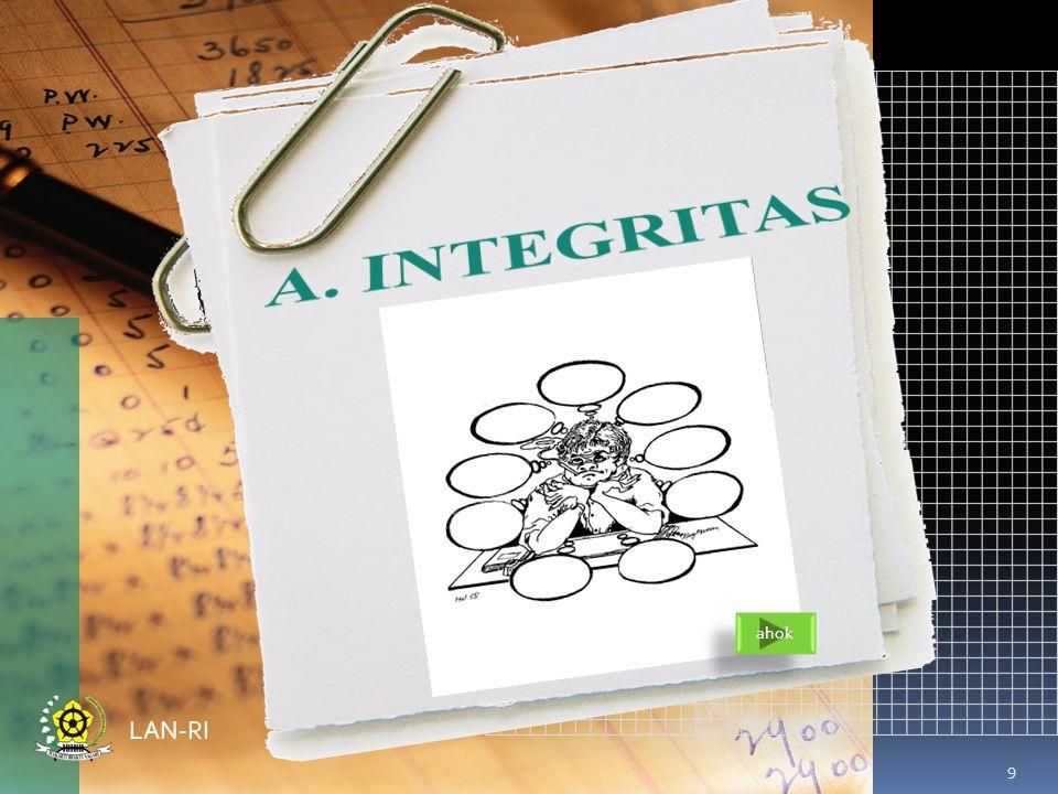 A. INTEGRITAS ahok LAN-RI