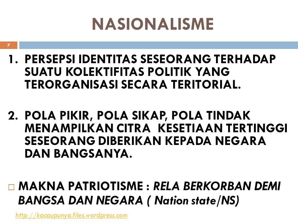 NASIONALISME PERSEPSI IDENTITAS SESEORANG TERHADAP SUATU KOLEKTIFITAS POLITIK YANG TERORGANISASI SECARA TERITORIAL.