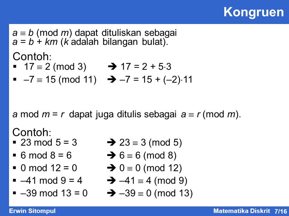 Kongruen Contoh: Contoh: a  b (mod m) dapat dituliskan sebagai