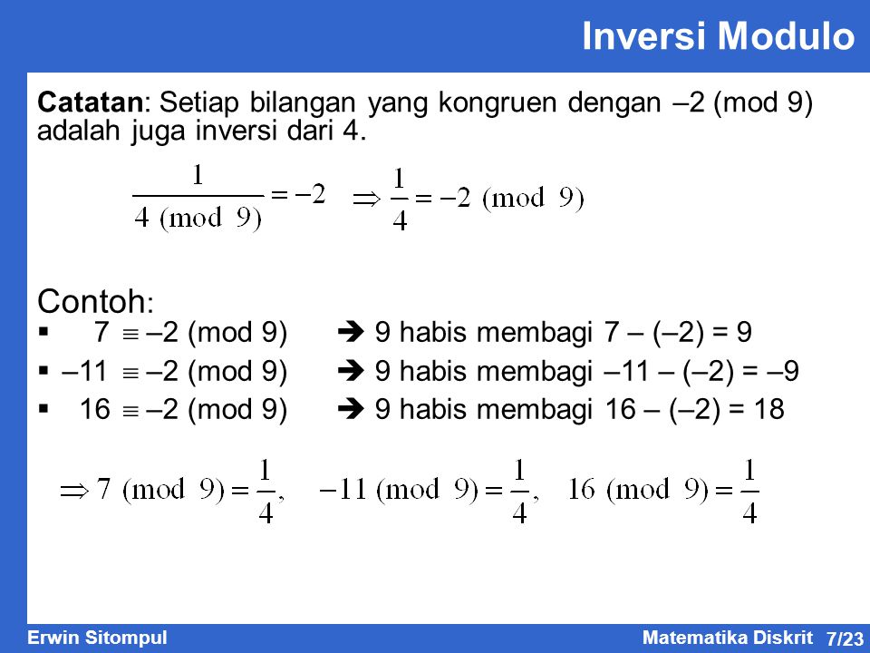 Inversi Modulo Contoh: