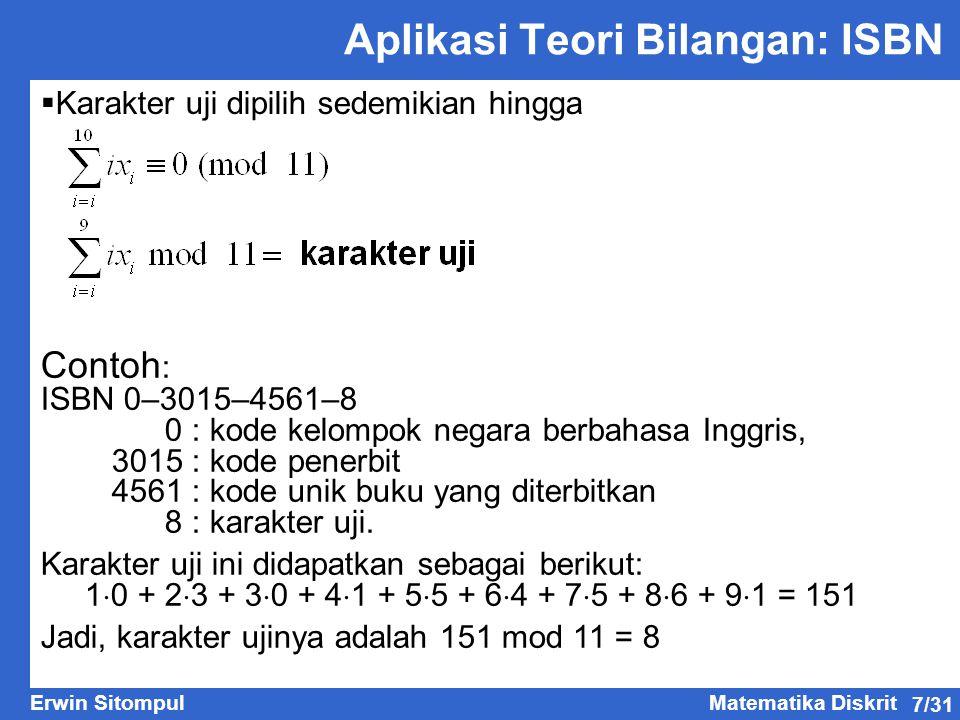 Aplikasi Teori Bilangan: ISBN