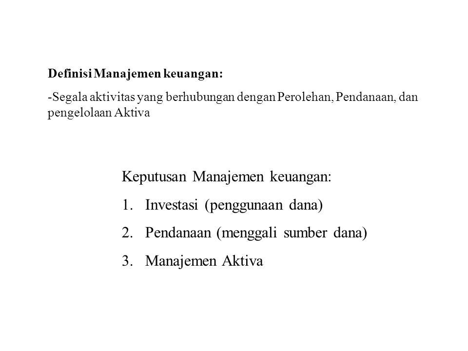 Keputusan Manajemen keuangan: Investasi (penggunaan dana)