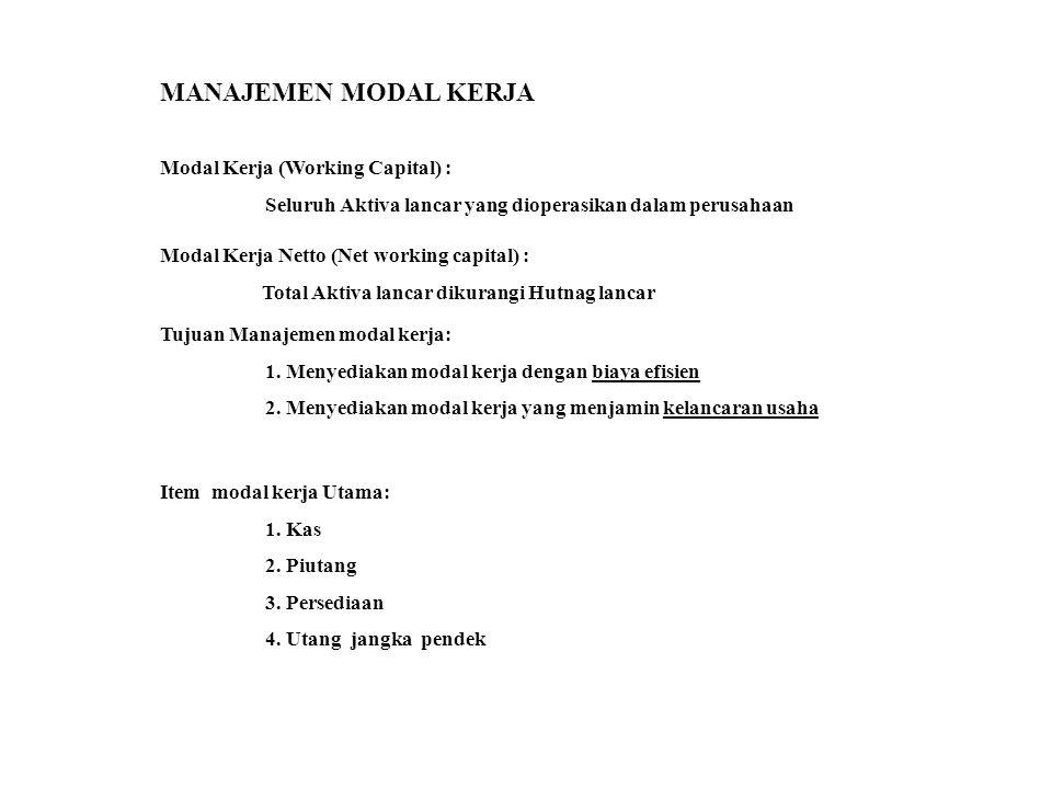 MANAJEMEN MODAL KERJA Modal Kerja (Working Capital) :