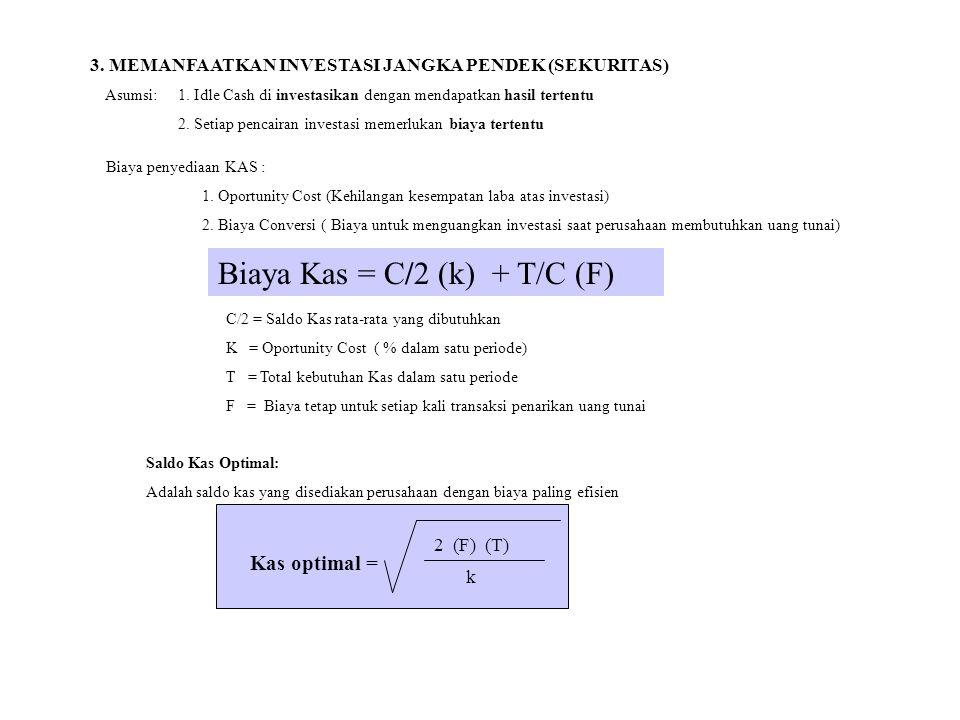 Biaya Kas = C/2 (k) + T/C (F)