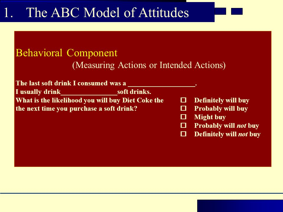 The ABC Model of Attitudes