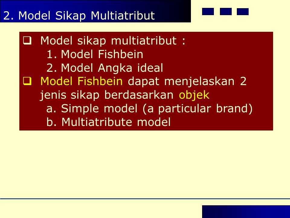 2. Model Sikap Multiatribut