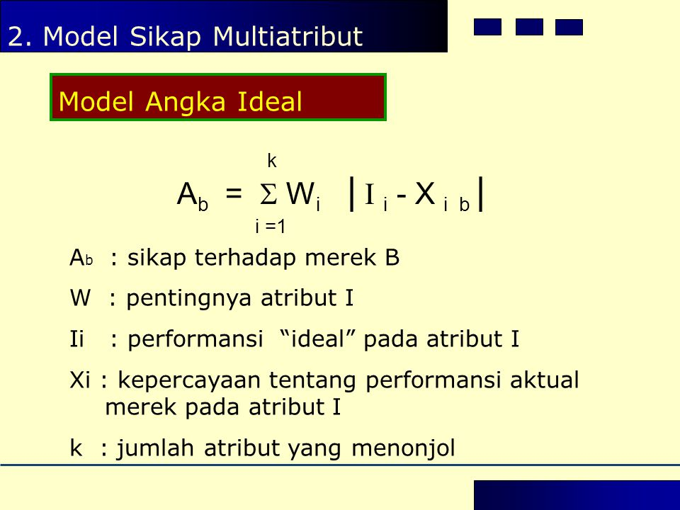 Ab =  Wi | I i - X i b | i =1 2. Model Sikap Multiatribut