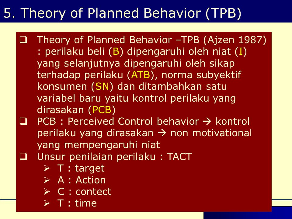 5. Theory of Planned Behavior (TPB)