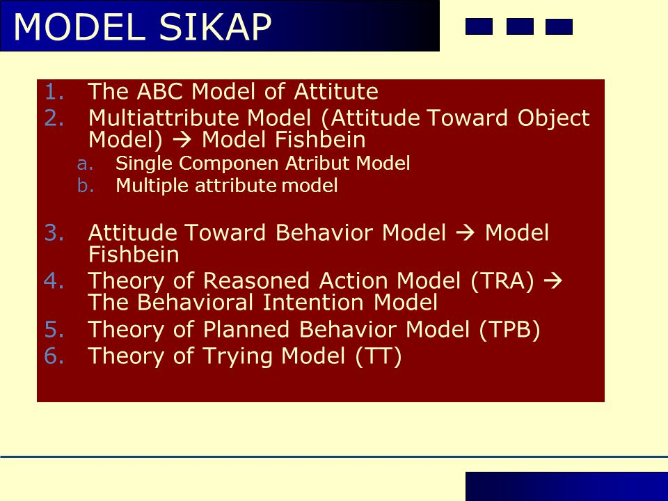MODEL SIKAP The ABC Model of Attitute