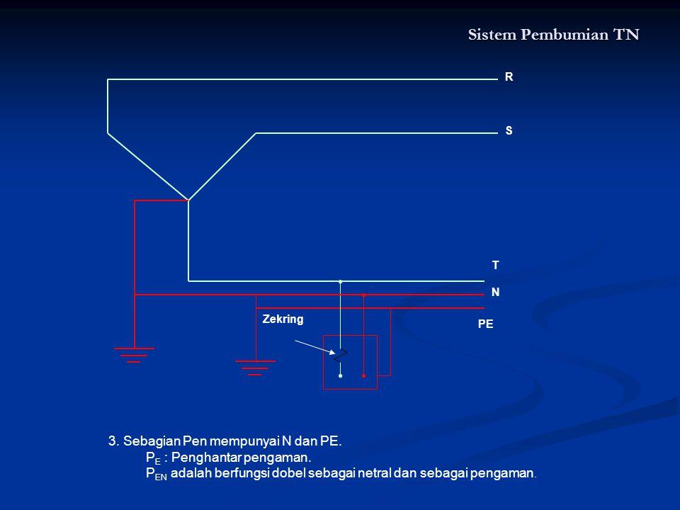 Sistem Pembumian TN 3. Sebagian Pen mempunyai N dan PE.