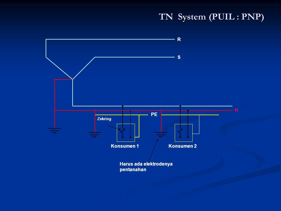 TN System (PUIL : PNP) R S PE Konsumen 1 Konsumen 2