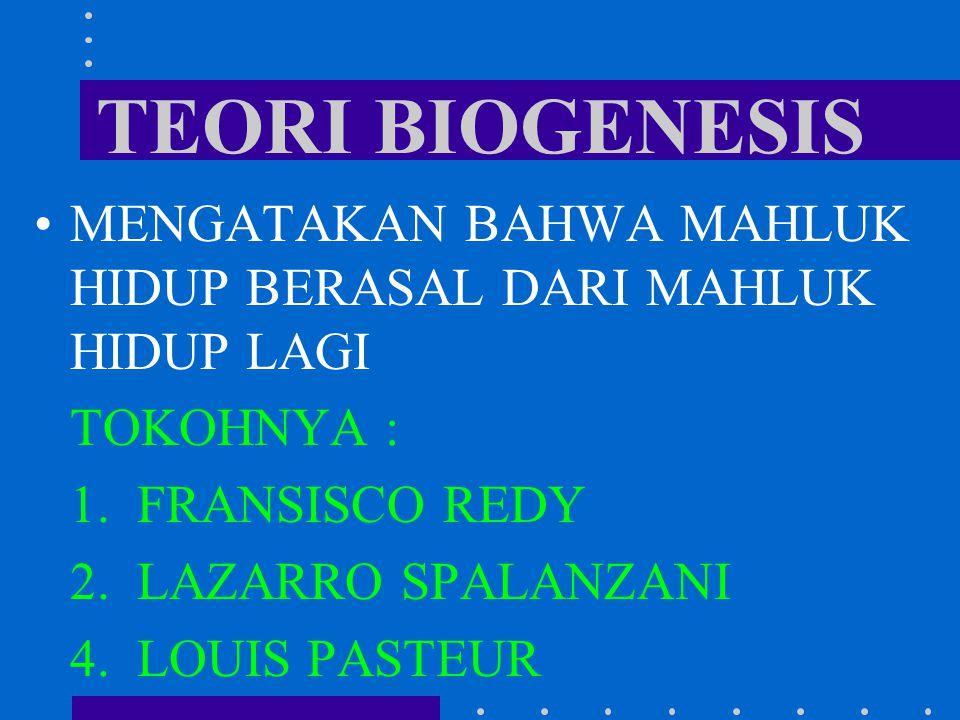 TEORI BIOGENESIS MENGATAKAN BAHWA MAHLUK HIDUP BERASAL DARI MAHLUK HIDUP LAGI. TOKOHNYA : 1. FRANSISCO REDY.