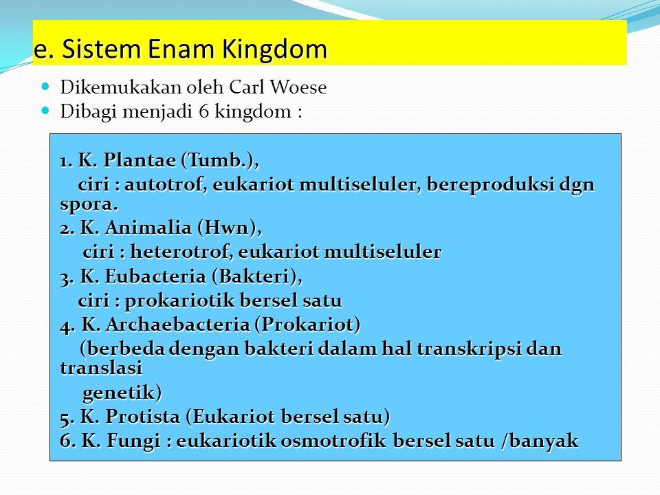 e. Sistem Enam Kingdom Dikemukakan oleh Carl Woese