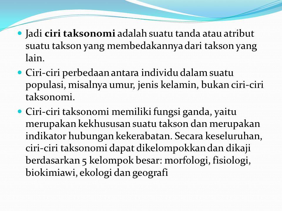 Jadi ciri taksonomi adalah suatu tanda atau atribut suatu takson yang membedakannya dari takson yang lain.