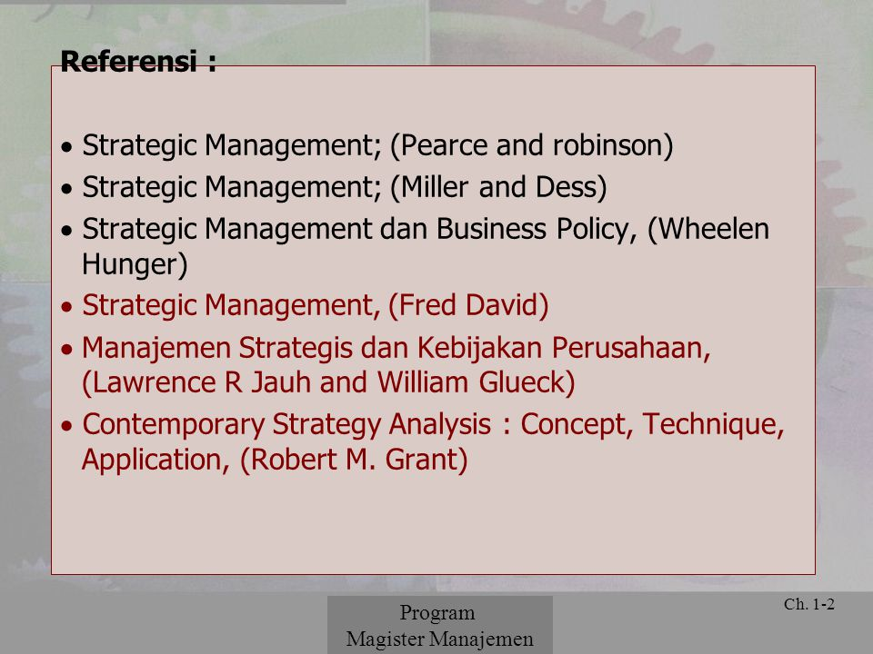 Strategic Management; (Pearce and robinson)