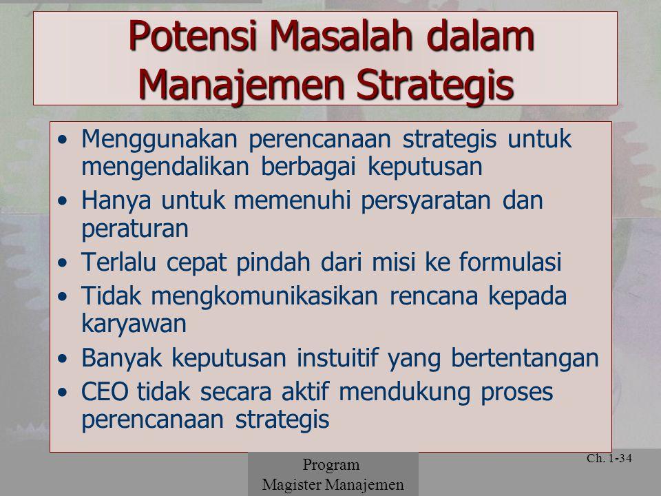 Potensi Masalah dalam Manajemen Strategis