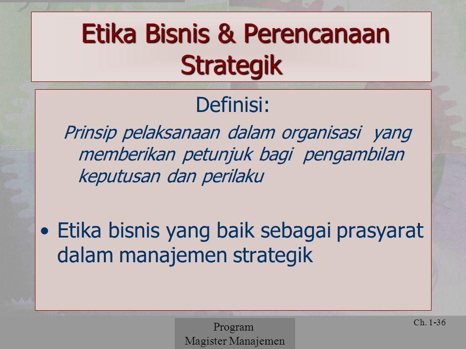 Etika Bisnis & Perencanaan Strategik