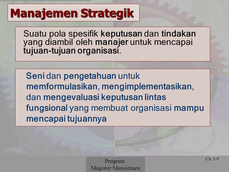 Manajemen Strategik Suatu pola spesifik keputusan dan tindakan yang diambil oleh manajer untuk mencapai tujuan-tujuan organisasi.