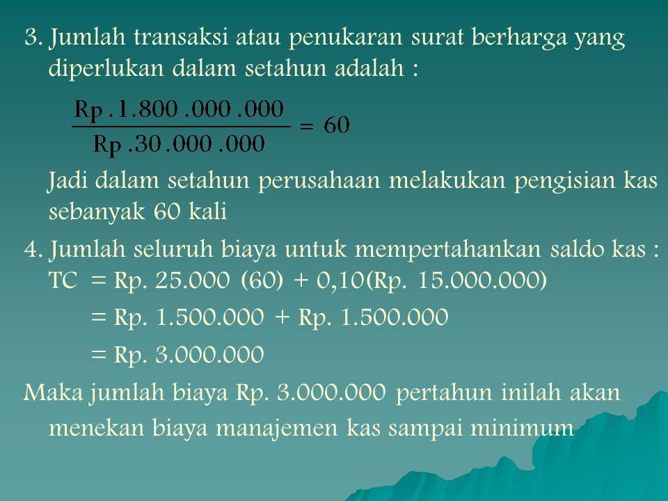 3. Jumlah transaksi atau penukaran surat berharga yang diperlukan dalam setahun adalah :