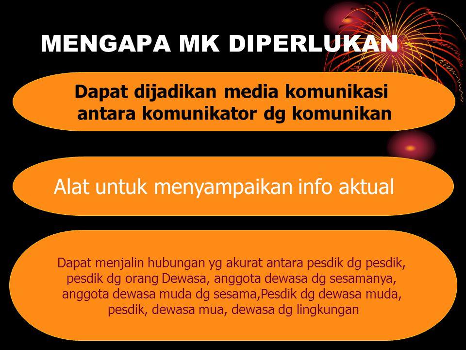 Dapat dijadikan media komunikasi antara komunikator dg komunikan