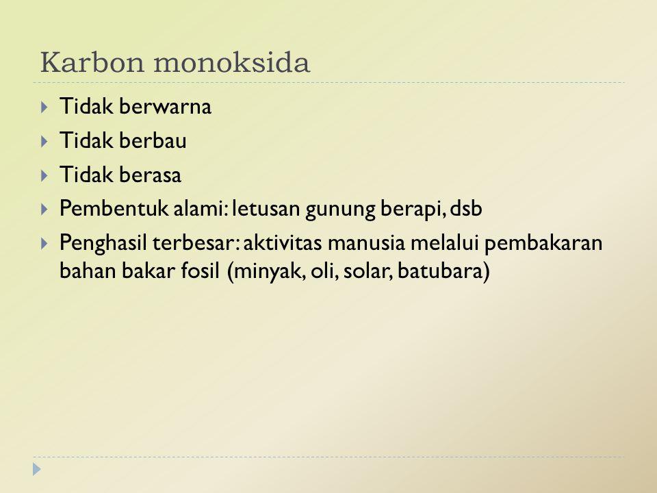 Karbon monoksida Tidak berwarna Tidak berbau Tidak berasa
