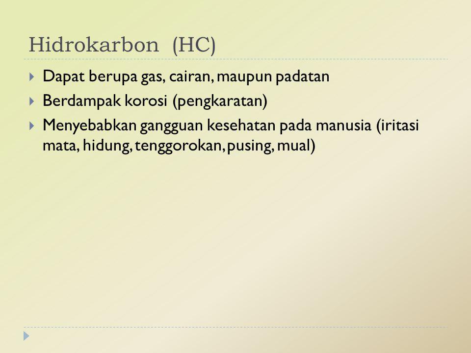 Hidrokarbon (HC) Dapat berupa gas, cairan, maupun padatan