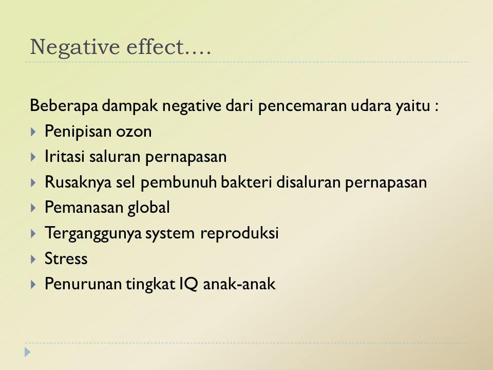 Negative effect.... Beberapa dampak negative dari pencemaran udara yaitu : Penipisan ozon. Iritasi saluran pernapasan.