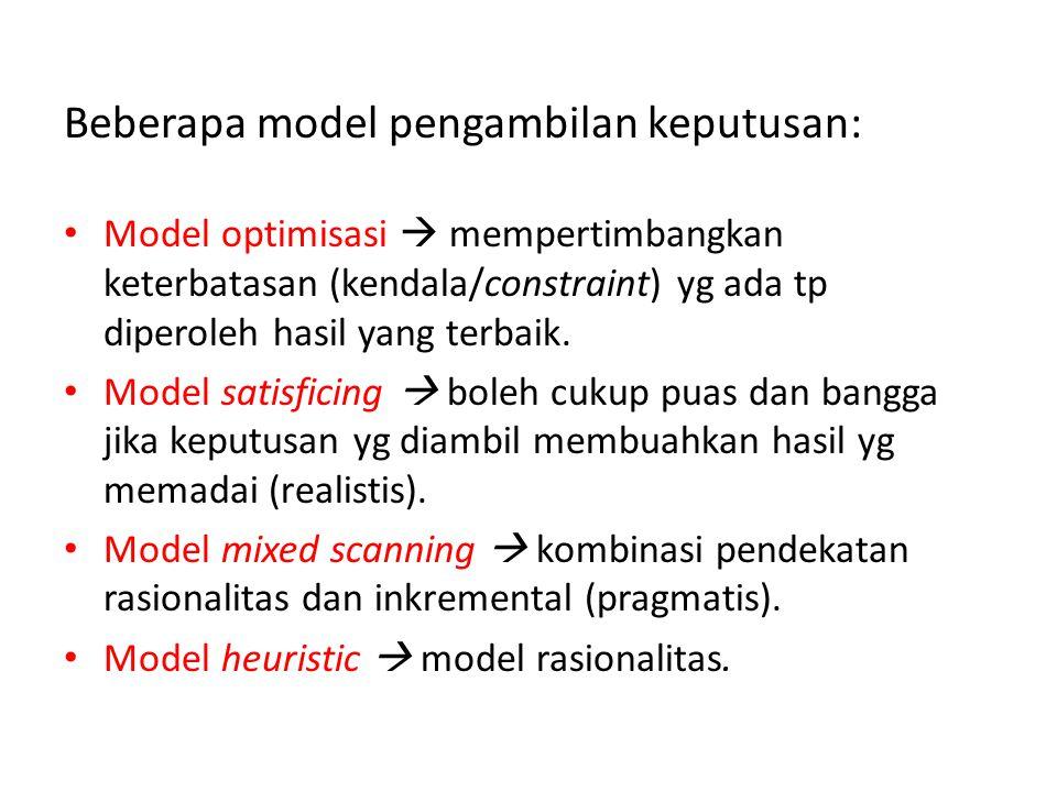 Beberapa model pengambilan keputusan: